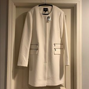 Express Cream Colored Collarless Coat Size L
